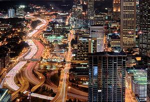 Atlanta Downtown Connector at night